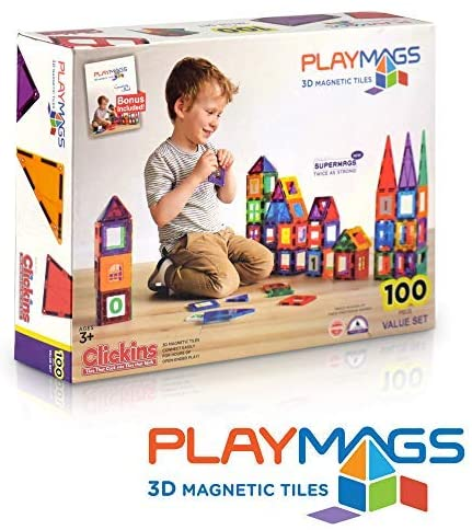 51xH9c2+ySL. AC  - Playmags 3D Magnetic Blocks for Kids Set of 100 Blocks to Learn Shapes, Colors, & Alphabet STEM Magnetic Toys Develop Motor Skills&Creativity-Colorful, Durable Magnet Building Tiles & Idea Book