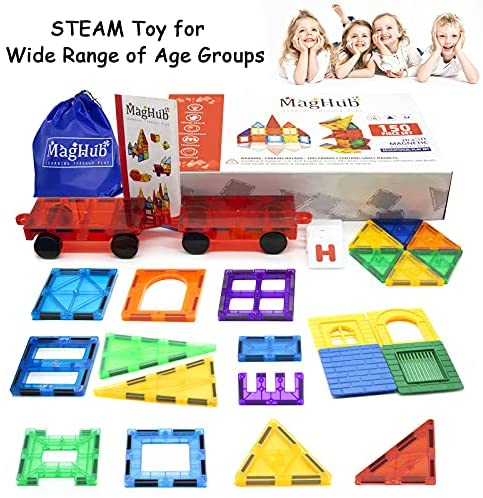 51xmvlYg1ZS. AC  - MagHub 150PCS Kids 3D Magnetic Building Blocks with Car Alphabet, Magnetic Tiles Shape Set, Magnet Toys Construction Playboards, Learning Educational Gifts for Preschool Toddler Children