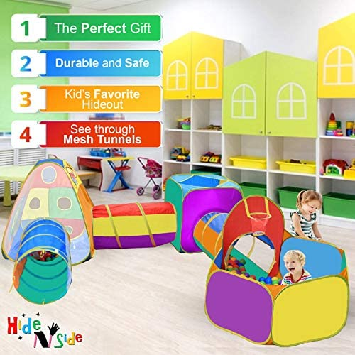 51ydL+GUZgL. AC  - Gift for Toddler Boys & Girls, Ball Pit, Play Tent and Tunnels for Kids, Best Birthday Gift for 1 2 3 4 5 Year old Pop Up Baby Play Toy, Target Game w/ 4 Darts Indoor & Outdoor, Pit Balls Not Included