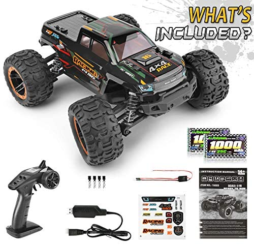 51yiE6hL6eL. AC  - Remote Control Car 16889, 1:16 Scale 2.4Ghz RC Cars 4x4 Off Road Trucks, Waterproof RTR RC Monster Truck 36KM/H, Remote Controlled Toys for Kids and Adults with 2 Batteries 35+ mins Play