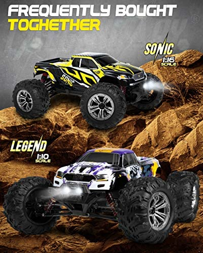 51yrhm+zcgL. AC  - 1:10 Scale Large RC Cars 48+ kmh Speed - Boys Remote Control Car 4x4 Off Road Monster Truck Electric - All Terrain Waterproof Toys Trucks for Kids and Adults - 2 Batteries + Connector for 40+ Min Play