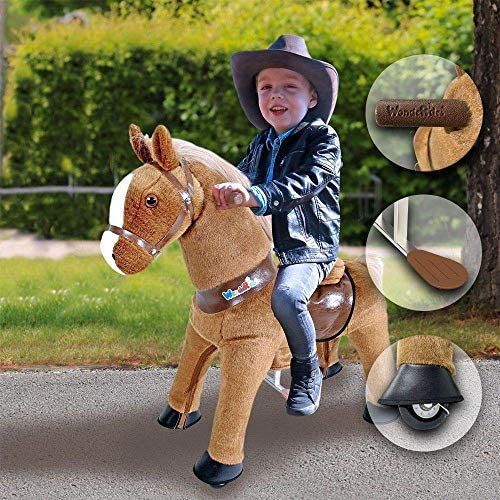 6147ZFFQykL. AC  - WondeRides Ride on Horse Toy Plush Walking Animal Giddy up Pony Mechanical Riding Horse Medium for Age 4-9 (35.8 Inch Height), Walking Horse Toy with Wheels
