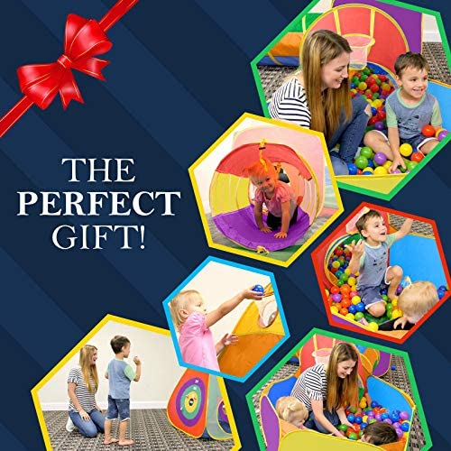 616jTEKWpoL. AC  - Gift for Toddler Boys & Girls, Ball Pit, Play Tent and Tunnels for Kids, Best Birthday Gift for 1 2 3 4 5 Year old Pop Up Baby Play Toy, Target Game w/ 4 Darts Indoor & Outdoor, Pit Balls Not Included