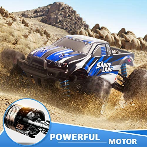 6178MG8auiL. AC  - IMDEN Remote Control Car, Terrain RC Cars, Electric Remote Control Off Road Monster Truck, 1:18 Scale 2.4Ghz Radio 4WD Fast 30+ MPH RC Car, with 2 Rechargeable Batteries, Blue