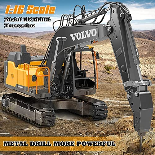 617DKBqLQuS. AC  - Volvo RC Excavator 3 in 1 Construction Truck Metal Shovel and Drill 17 Channel 1/16 Scale Full Functional with 2 Bonus Tools Hydraulic Electric Remote Control Excavator Construction Tractor