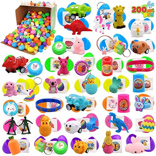 """617hucA9IFL. AC  - 200 Pcs Prefilled Colorful Easter Eggs w/Novelty Toys and Stickers 2 3/8"""" for Filling Treats, Easter Theme Party Favor, Easter Eggs Hunt, Basket Stuffers Fillers, Classroom Prize Supplies Toy"""