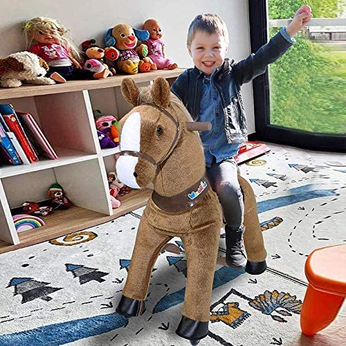61B5FbXiNYL. AC  - WondeRides Ride on Horse Toy Plush Walking Animal Giddy up Pony Mechanical Riding Horse Medium for Age 4-9 (35.8 Inch Height), Walking Horse Toy with Wheels