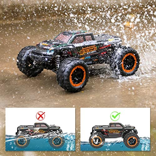 61Cf8Ko8ZHL. AC  - Remote Control Car 16889, 1:16 Scale 2.4Ghz RC Cars 4x4 Off Road Trucks, Waterproof RTR RC Monster Truck 36KM/H, Remote Controlled Toys for Kids and Adults with 2 Batteries 35+ mins Play