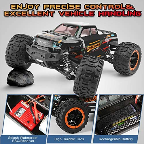 61FjvNd123L. AC  - Remote Control Car 16889, 1:16 Scale 2.4Ghz RC Cars 4x4 Off Road Trucks, Waterproof RTR RC Monster Truck 36KM/H, Remote Controlled Toys for Kids and Adults with 2 Batteries 35+ mins Play