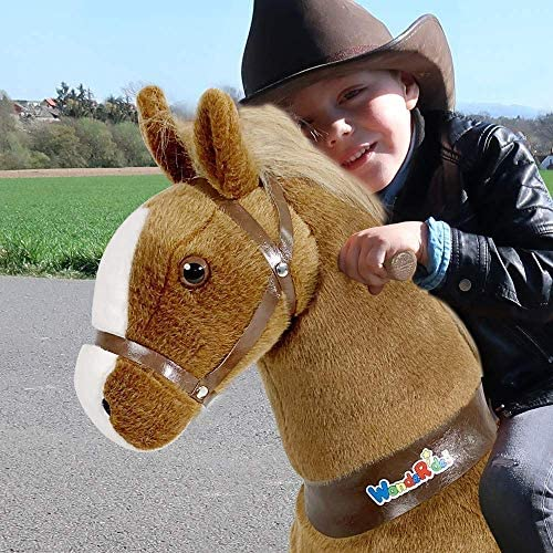 61HECfv4SJL. AC  - WondeRides Ride on Horse Toy Plush Walking Animal Giddy up Pony Mechanical Riding Horse Medium for Age 4-9 (35.8 Inch Height), Walking Horse Toy with Wheels