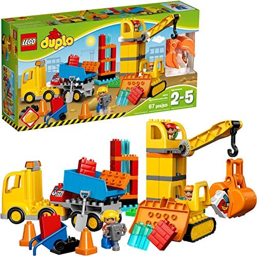 61I+qByf+4L. AC  - LEGO DUPLO Big Construction Site 10813 Building Set with Toy Dump Truck, Toy Crane and Toy Bulldozer for a Complete Toddler Construction Toy Set (67 Pieces)