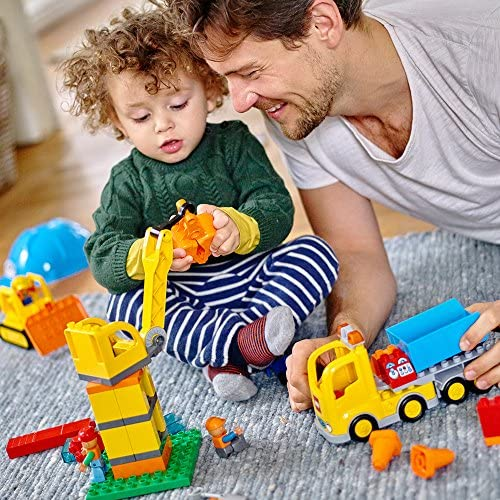 61IzY+F2qTL. AC  - LEGO DUPLO Big Construction Site 10813 Building Set with Toy Dump Truck, Toy Crane and Toy Bulldozer for a Complete Toddler Construction Toy Set (67 Pieces)