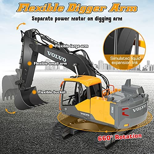 61K NiomEfS. AC  - Volvo RC Excavator 3 in 1 Construction Truck Metal Shovel and Drill 17 Channel 1/16 Scale Full Functional with 2 Bonus Tools Hydraulic Electric Remote Control Excavator Construction Tractor