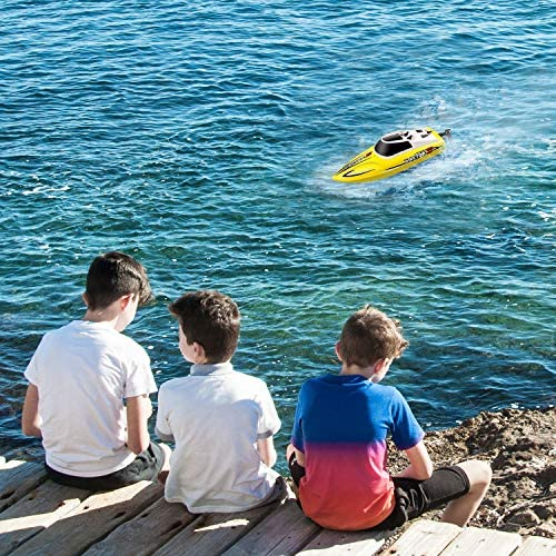 61KkIzeNqZL. AC  - YEZI Remote Control Boat for Pools & Lakes,Udi001 Venom Fast RC Boat for Kids & Adults,Self Righting Remote Controlled Boat W/Extra Battery (Yellow)