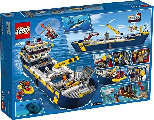 61OC9oP7BEL. AC  - LEGO City Ocean Exploration Ship 60266, Toy Exploration Vessel, Mini Helicopter, Submarine, Shipwreck with Treasure, Lifeboat, Stingray, Shark, Plus 8 Minifigures, New 2020 (745 Pieces)