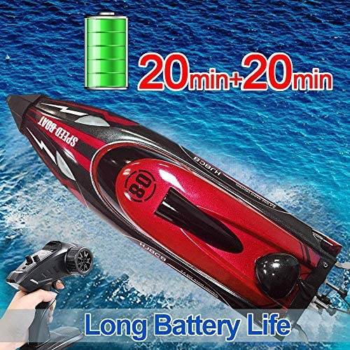 61Ou1S0DZRL. AC  - HONGXUNJIE 2.4Ghz RC Boat- 20+ MPH High Speed Remote Control Boat for Adults and Kids for Lakes and Pools with 2 Rechargeable Batteries, Low Battery Alarm, Capsize Recovery (RED)