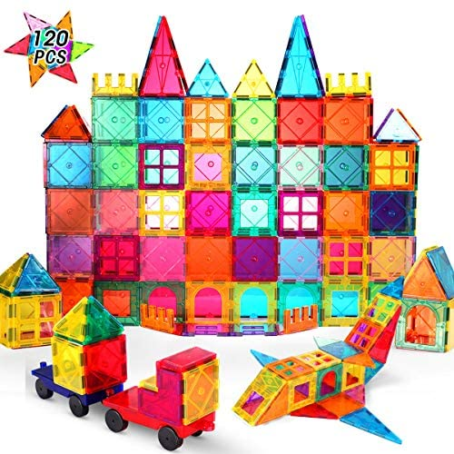 61Q+OQi1XrL. AC  - VATENIC 120PCS Kids Magnetic Tiles Building Blocks 2 Car Set Color Magnetic Blocks Toys for Kids Children,Educational Learning Building Toys Birthday Gifts for Boys Girls Age 3 4 5 6 7 8 9 10 Year Old