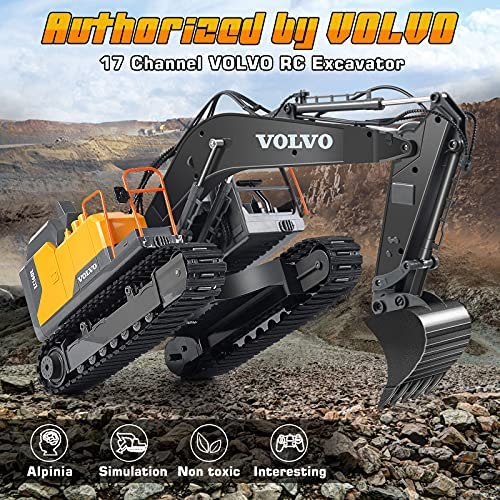61V89GICwzS. AC  - Volvo RC Excavator 3 in 1 Construction Truck Metal Shovel and Drill 17 Channel 1/16 Scale Full Functional with 2 Bonus Tools Hydraulic Electric Remote Control Excavator Construction Tractor