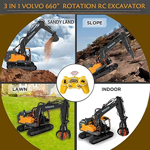 61dMOATDFsL. AC  - Volvo RC Excavator 3 in 1 Construction Truck Metal Shovel and Drill 17 Channel 1/16 Scale Full Functional with 2 Bonus Tools Hydraulic Electric Remote Control Excavator Construction Tractor
