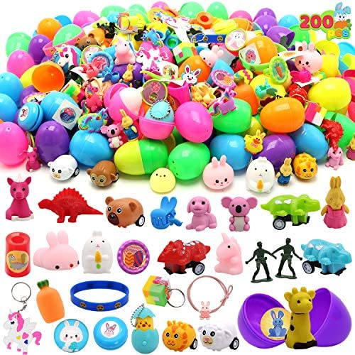 """61gynxbsITL. AC  - 200 Pcs Prefilled Colorful Easter Eggs w/Novelty Toys and Stickers 2 3/8"""" for Filling Treats, Easter Theme Party Favor, Easter Eggs Hunt, Basket Stuffers Fillers, Classroom Prize Supplies Toy"""