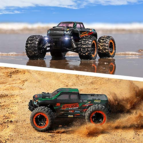 61q3n CbuJL. AC  - Remote Control Car 16889, 1:16 Scale 2.4Ghz RC Cars 4x4 Off Road Trucks, Waterproof RTR RC Monster Truck 36KM/H, Remote Controlled Toys for Kids and Adults with 2 Batteries 35+ mins Play