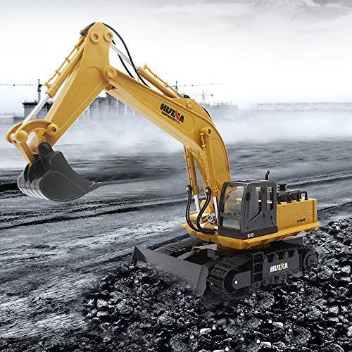 61qhHeM5UXL. AC  - Fisca Remote Control Excavator RC Digger, 2.4Ghz 11 Channel Construction Vehicle Full Function Toy Metal Shovel with Lights and Sound