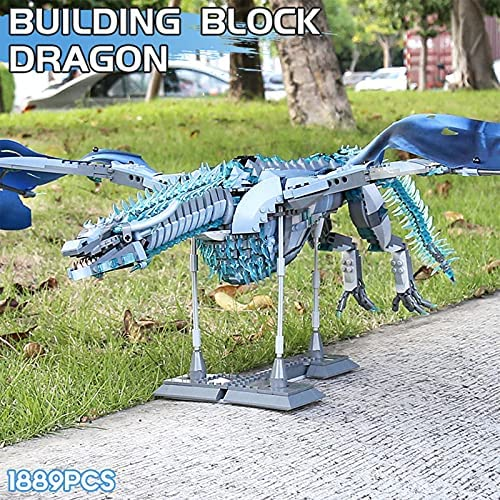 61vFqme3wAS. AC  - LEBLOCK Building Toys for Boys, Dragon Set Construction 1889 Pieces Building Bricks Blue Ice Dragon with Wings Engineering Toy Building Blocks Display Collection Great Gift for Adult
