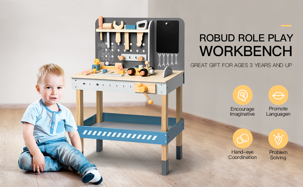 65d8b365 570b 42c6 bc58 d13e693646fa.  CR0,0,970,600 PT0 SX970 V1    - ROBUD Wooden Tool Workbench for Kids Toddlers, Toy Tools Set Gift for 1 2 3 4 Years Old and Up