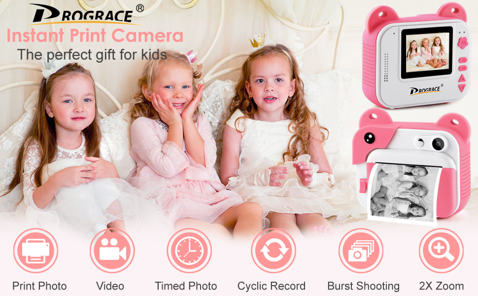 66e269fc 3798 4059 84cd b2b13df833b4.  CR0,0,970,600 PT0 SX970 V1    - PROGRACE Kids Print Camera Instant Print Camera for Kids Travel Learning Birthday Gift Portable Digital Creative Print Camera for Girls Zero Ink Kids Camera Toy Toddler Camera with Print Paper(Pink)