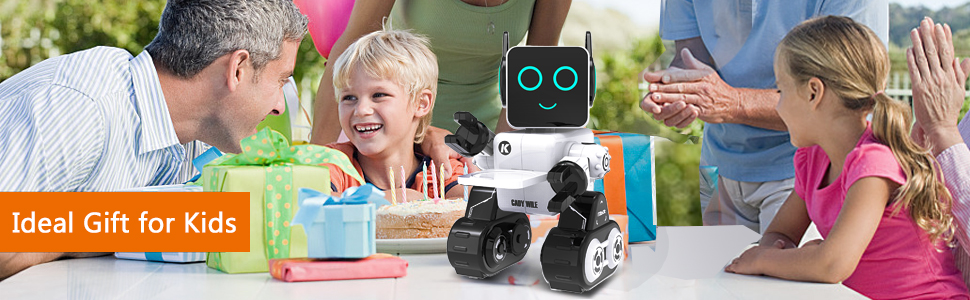 7faf951c 4801 4b58 893e 5ac8738b9508.  CR0,0,970,300 PT0 SX970 V1    - Robots for Kids, Remote Control Robot Toy Intelligent Interactive Robot LED Light Speaks Dance Moves Built-in Coin Bank Programmable Rechargeable RC Robot Kit (White)