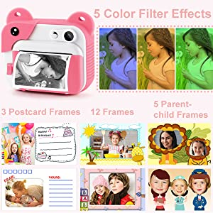 7fbbe311 126d 4245 9240 12de66f569df.  CR0,0,600,600 PT0 SX300 V1    - PROGRACE Kids Print Camera Instant Print Camera for Kids Travel Learning Birthday Gift Portable Digital Creative Print Camera for Girls Zero Ink Kids Camera Toy Toddler Camera with Print Paper(Pink)