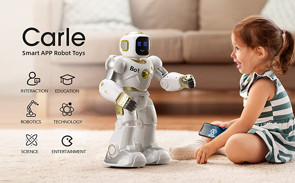 7ff59159 10f2 440e 90a8 758e293e63fd.  CR0,0,1940,1200 PT0 SX970 V1    - Ruko AI Robots for Kids, Large Programmable RC Robot Toy with APP Control Voice Command Touch Response Bluetooth Speaker Emoji for 3-12 Years Old Boys Girls (Golden)