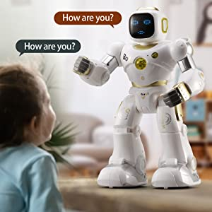 80468204 0cb0 4b5c a033 88b5bec7cddd.  CR0,0,1600,1600 PT0 SX300 V1    - Ruko AI Robots for Kids, Large Programmable RC Robot Toy with APP Control Voice Command Touch Response Bluetooth Speaker Emoji for 3-12 Years Old Boys Girls (Golden)