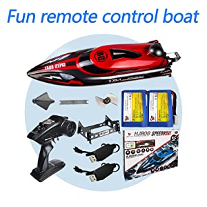 82516fc6 ad1c 4da9 86bb f0c35ad6dece.  CR0,0,800,800 PT0 SX300 V1    - HONGXUNJIE 2.4Ghz RC Boat- 20+ MPH High Speed Remote Control Boat for Adults and Kids for Lakes and Pools with 2 Rechargeable Batteries, Low Battery Alarm, Capsize Recovery (RED)