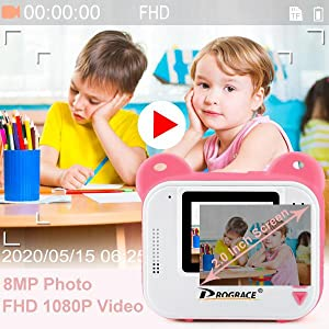880d19b0 6237 4dae b738 9d9f889b8537.  CR0,0,600,600 PT0 SX300 V1    - PROGRACE Kids Print Camera Instant Print Camera for Kids Travel Learning Birthday Gift Portable Digital Creative Print Camera for Girls Zero Ink Kids Camera Toy Toddler Camera with Print Paper(Pink)