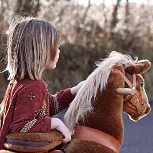 8ddcd74c ee37 4667 b975 457bbe755984. CR70,0,809,809 PT0 SX300   - PonyCycle Official Ride-On Horse No Battery No Electricity Mechanical Pony Brown with White Hoof Giddy up Pony Plush Walking Animal for Age 4-9 Years Medium Size - N4151