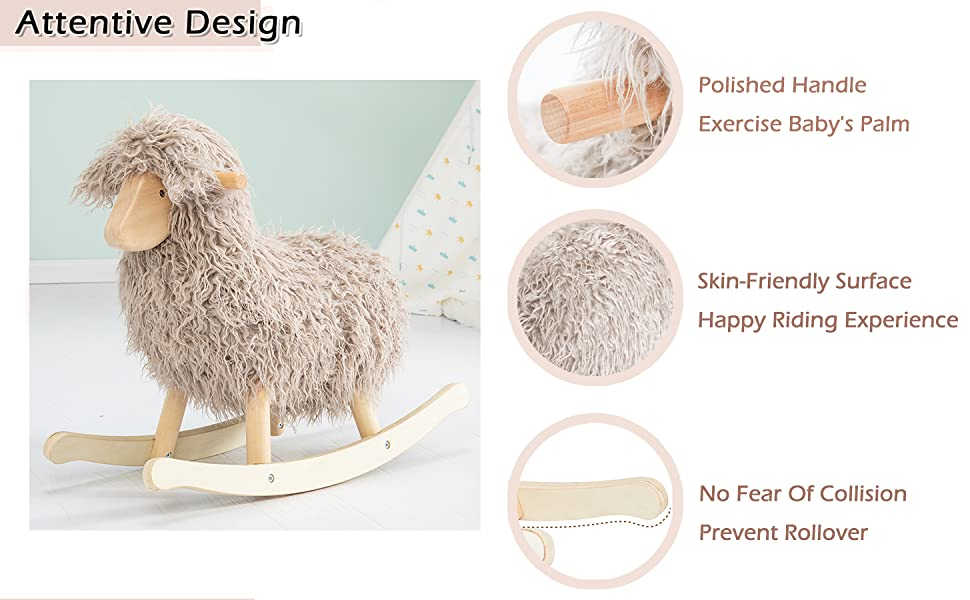 91a5906e 8b1f 4c08 a99b 392ba3c71535.  CR0,0,1455,900 PT0 SX970 V1    - labebe - Wooden Rocking Horse Rocker Sheep Grey, Plush Rockiong Animal for Child 1-3 Year Old, Wooden Kid Ride On Toy Stuffed for Infant/Toddler Girl&Boy, Nursery Birthday Gift (No Assembly Required)