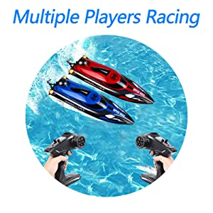 a2abc802 51a4 4b6f ad26 8032ef186a5c.  CR0,0,800,800 PT0 SX300 V1    - HONGXUNJIE 2.4Ghz RC Boat- 20+ MPH High Speed Remote Control Boat for Adults and Kids for Lakes and Pools with 2 Rechargeable Batteries, Low Battery Alarm, Capsize Recovery (RED)
