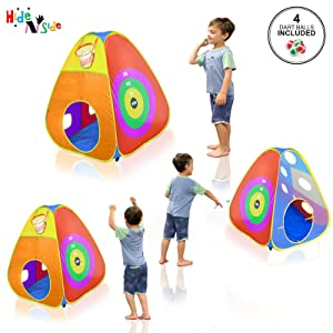 a9bc95ff 2adc 4522 bfc4 739f21577607.  CR0,0,1600,1600 PT0 SX300 V1    - Gift for Toddler Boys & Girls, Ball Pit, Play Tent and Tunnels for Kids, Best Birthday Gift for 1 2 3 4 5 Year old Pop Up Baby Play Toy, Target Game w/ 4 Darts Indoor & Outdoor, Pit Balls Not Included