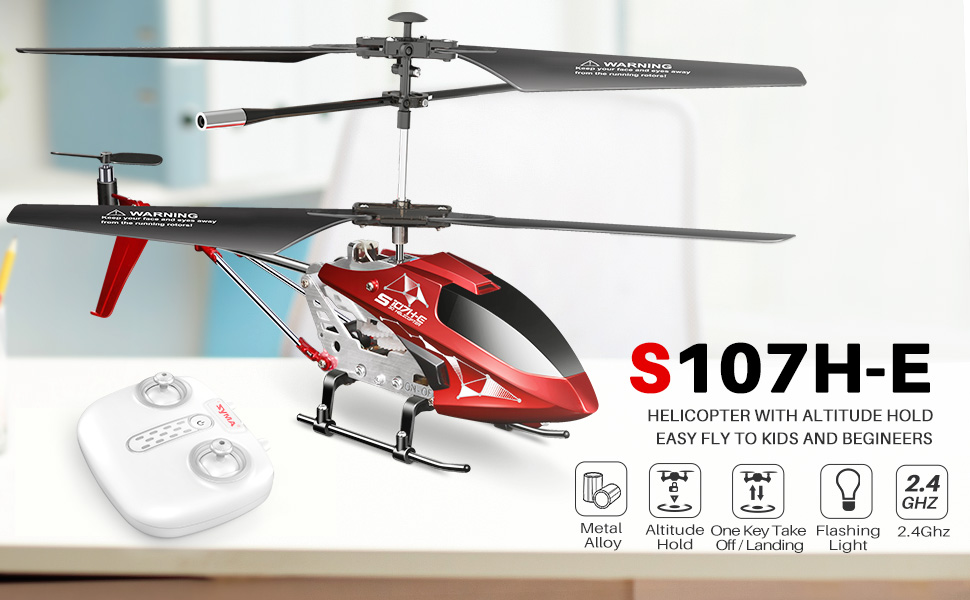 a9ebce0d e5a1 477e a3d6 11ea471403a7. CR0,0,970,600 PT0 SX970   - Remote Control Helicopter, S107H-E Aircraft with Altitude Hold, One Key take Off/Landing, 3.5 Channel, Gyro Stabilizer and High &Low Speed, LED Light for Indoor to Fly for Kids and Beginners(Red)