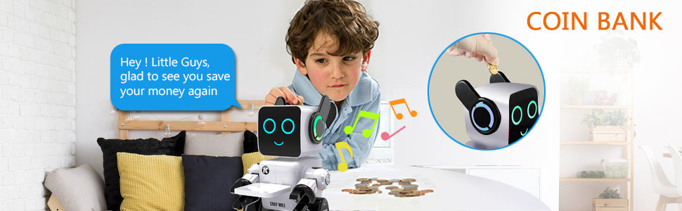 af2c977c 85ba 4b27 a755 27619e8095cf.  CR0,0,970,300 PT0 SX970 V1    - Robots for Kids, Remote Control Robot Toy Intelligent Interactive Robot LED Light Speaks Dance Moves Built-in Coin Bank Programmable Rechargeable RC Robot Kit (White)