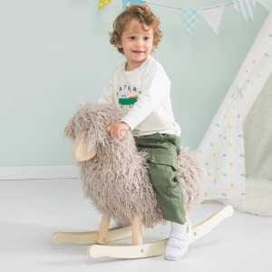 b780cee0 f727 4ae6 8624 3c85333935b3.  CR0,0,600,600 PT0 SX300 V1    - labebe - Wooden Rocking Horse Rocker Sheep Grey, Plush Rockiong Animal for Child 1-3 Year Old, Wooden Kid Ride On Toy Stuffed for Infant/Toddler Girl&Boy, Nursery Birthday Gift (No Assembly Required)