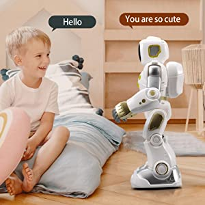 b9a40754 ad44 4732 a1aa 4b4311a8e48e.  CR0,0,1600,1600 PT0 SX300 V1    - Ruko AI Robots for Kids, Large Programmable RC Robot Toy with APP Control Voice Command Touch Response Bluetooth Speaker Emoji for 3-12 Years Old Boys Girls (Golden)