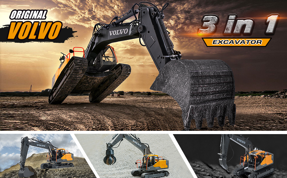 ce49a7ea cac0 40db bdfb 88e6d34ebb40.  CR0,0,970,600 PT0 SX970 V1    - Volvo RC Excavator 3 in 1 Construction Truck Metal Shovel and Drill 17 Channel 1/16 Scale Full Functional with 2 Bonus Tools Hydraulic Electric Remote Control Excavator Construction Tractor