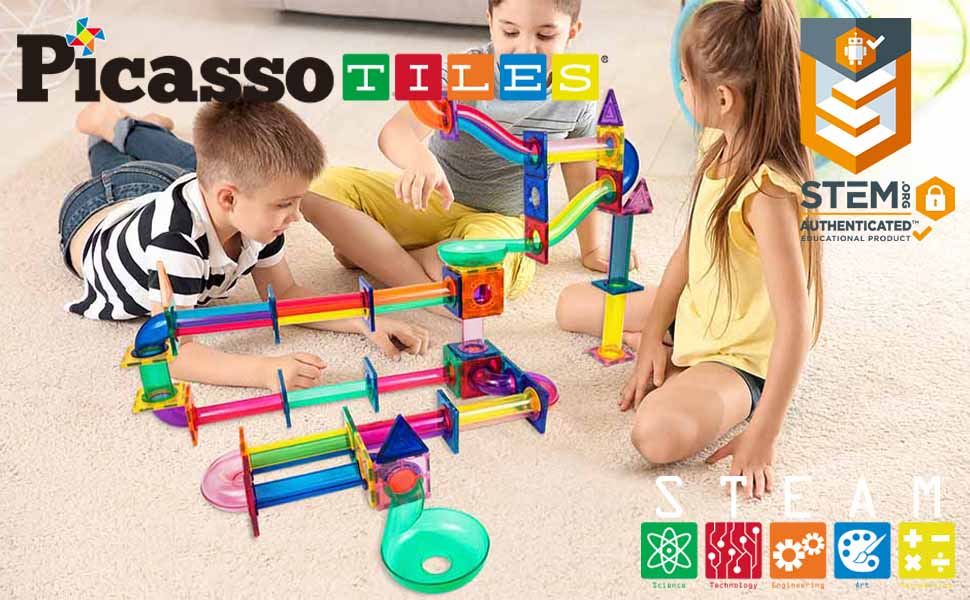 d1dba10f a652 49b6 807f 76b9be5bc343.  CR0,0,970,600 PT0 SX970 V1    - PicassoTiles Marble Run 120 Piece Magnetic Building Blocks Magnet Tile Construction Toy Playset STEM Learning Educational Block Child Brain Development Kids Toys for Boys and Girls Age 3 and Up