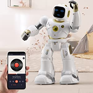 e332c86e 1994 4fa6 a3c2 b7beab27620f.  CR0,0,1600,1600 PT0 SX300 V1    - Ruko AI Robots for Kids, Large Programmable RC Robot Toy with APP Control Voice Command Touch Response Bluetooth Speaker Emoji for 3-12 Years Old Boys Girls (Golden)