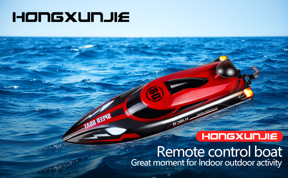 e3637b12 e94c 4cee b587 bd084f39e0ac.  CR0,0,970,600 PT0 SX970 V1    - HONGXUNJIE 2.4Ghz RC Boat- 20+ MPH High Speed Remote Control Boat for Adults and Kids for Lakes and Pools with 2 Rechargeable Batteries, Low Battery Alarm, Capsize Recovery (RED)