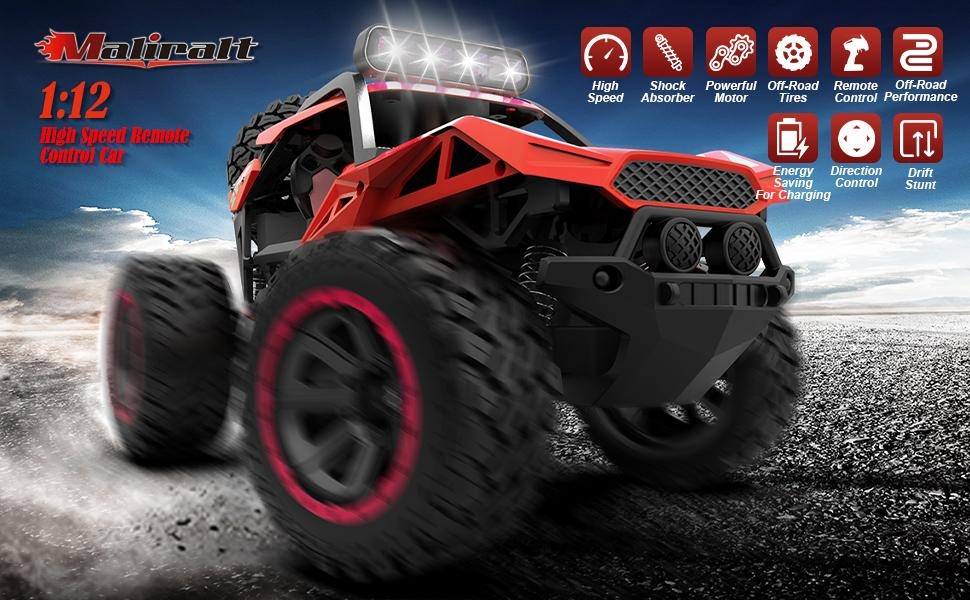 f12db17b 35ac 454d 901d f293bded969b.  CR0,0,970,600 PT0 SX970 V1    - RC Cars Remote Control Car 1:12 High Speed 25 Km/h Rechargeable Monster Truck Remote Control with LED Light 2.4Ghz 2WD Powerful Motor Off Road Rock Crawler Vehicle Toys Cars for Boys Girls Kids, Red