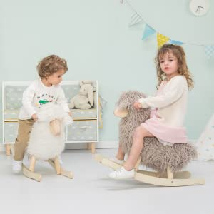 f1451cfb 92a2 4397 bea9 4bba71b866bc.  CR0,0,1100,1100 PT0 SX300 V1    - labebe - Wooden Rocking Horse Rocker Sheep Grey, Plush Rockiong Animal for Child 1-3 Year Old, Wooden Kid Ride On Toy Stuffed for Infant/Toddler Girl&Boy, Nursery Birthday Gift (No Assembly Required)
