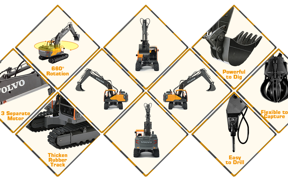 f449e5e9 df89 45a0 aa19 51a0920bdd8f.  CR0,0,970,600 PT0 SX970 V1    - Volvo RC Excavator 3 in 1 Construction Truck Metal Shovel and Drill 17 Channel 1/16 Scale Full Functional with 2 Bonus Tools Hydraulic Electric Remote Control Excavator Construction Tractor